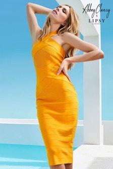 Abbey Clancy x Lipsy Orange Cross Neck Bandage Midi Dress