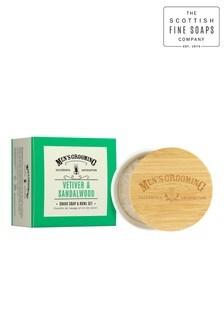 Scottish Fine Soaps Men's Grooming Vetiver & Sandalwood Shave Soap & Bowl Set 100g