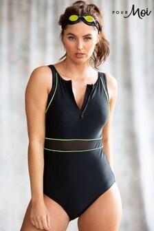 Pour Moi Black Energy High Neck Zip Front Sports Swimsuit