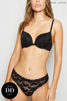 New Look Black Lace Push Up Bra