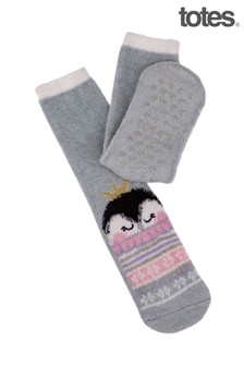 Totes Grey Ladies Novelty Cosy Socks