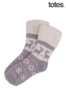 Totes Grey Brushed Fairisle Bed Sock