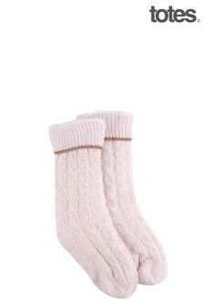 Totes Cream Sherpa/Chenille Cable Slipper Socks