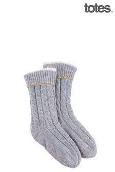 Totes Grey Sherpa/Chenille Cable Slipper Socks