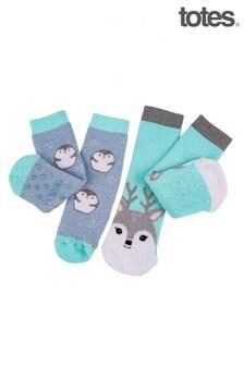 Totes Blue Penguin/Deer Novelty Slipper Socks Twin Pack