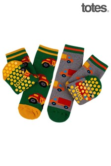 Totes Green Trucks Novelty Slipper Socks Twin Pack