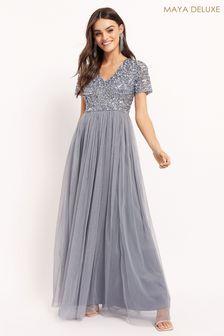 Maya Blue Regular V Neck Short Sleeve Sequin Maxi Dress