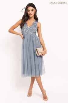 Maya Blue V Neck Sleevless Sequin Midi Dress