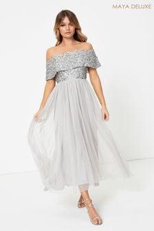 Maya Grey Embellished Bardot Midaxi Dress