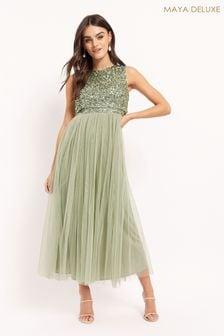 Maya Green Sleeveless Sequin Midaxi Overlay Dress