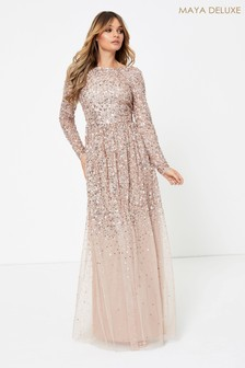 Maya Pink Heavily Embellished Long Sleeve Maxi Dress