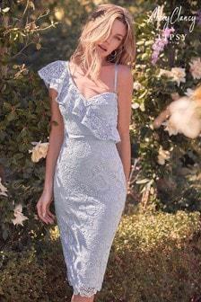 Abbey Clancy x Lipsy Ruffle One Shoulder Lace Dress