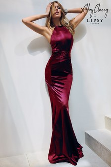 Abbey Clancy x Lipsy Red Satin Bandage Maxi Dress