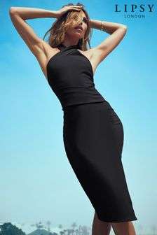 Lipsy Black Twist Neck Bodycon Dress