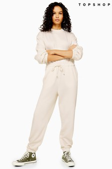 Topshop Sweat Tie Waist Jumpsuit