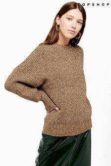 Topshop Knitted Boucle Crew Neck Jumper