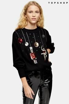 Topshop Black Knitted Christmas Nutcracker Jumper