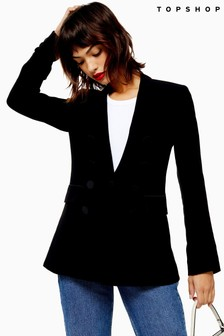 Topshop Satin Button Tuxedo Jacket
