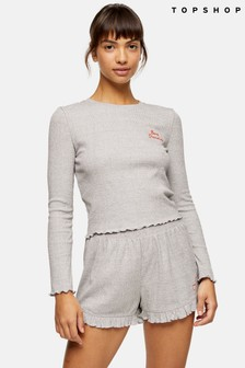 Topshop Grey Dream Ribbed Frill Pyjama Set