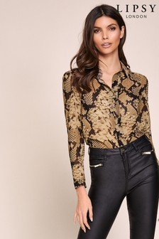 Lipsy Brown Snake Printed Shirt