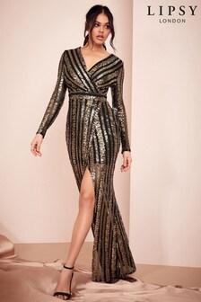 Lipsy Black Embelished Sequin Maxi Dress