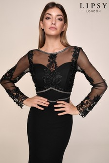Lipsy Black Lace Embroidered Long Sleeved Maxi Dress