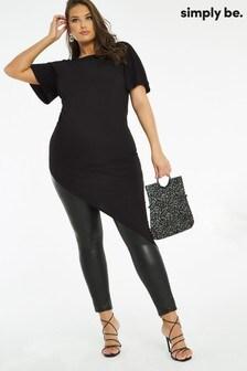 Simply Be Black Asymmetric Side Tuck Tunic