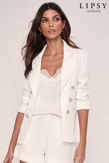 Lipsy White Military Tailored Button Blazer