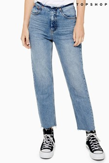 """Topshop Raw Waistband Straight Fit Jeans 30"""" Leg"""