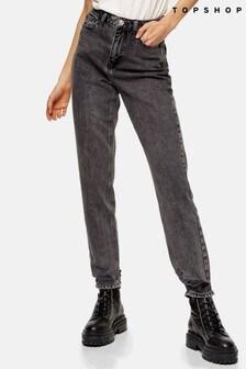 "Topshop Ripped Hem Mom Jeans 30"" Leg"