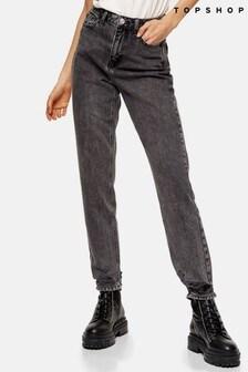 """Topshop Rip Hem Mom Jeans 32"""" Leg"""