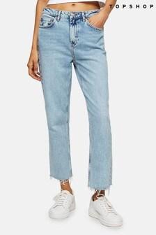 "Topshop Bleach Straight Fit Jeans 30"" Leg"