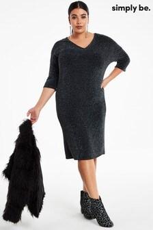 Simply Be Black Knit Loose V Neck Dress With Pockets