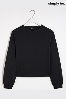 Simply Be Black Boxy Sweat Top