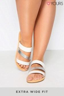 Yours Extra Wide Fit Shimmer Strap Slider Sandals