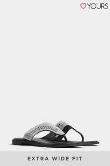 Yours Black Yours Extra Wide Fit Orbit Diamante Toe Post Sandals