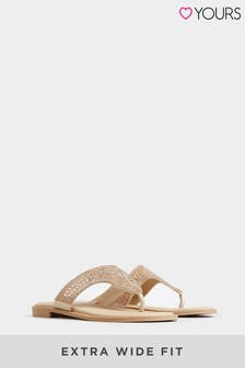 Yours Rose Gold Yours Extra Wide Fit Orbit Diamante Toe Post Sandals