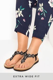 Yours Black Yours Extra Wide Fit Optima Gem Flower Toe-Post Sandals
