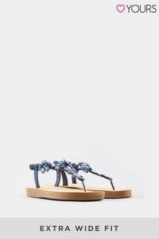 Yours Navy Yours Extra Wide Fit Optima Gem Flower Toe-Post Sandals