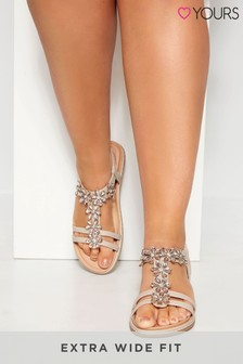 Yours Nude Flower Trim Sandal