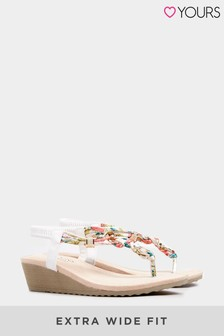 Yours White Olba Trim Wedge Toe-Post Sandal