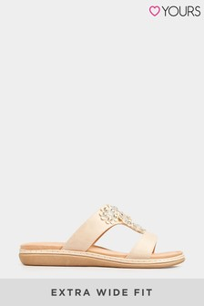 Yours Nude Flower Trim Mule Sandal