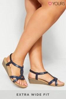 Yours Extra Wide Fit Diamanté Twist Wedge Sandals