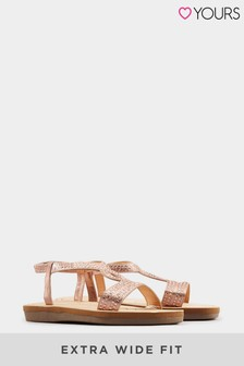 Yours Rose Gold Yours Curve Olivera Diamante Loop Sandals