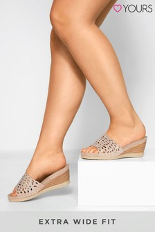 Yours Nude Wide Fit Orlando Laser Cut Diamant Heeled Mules