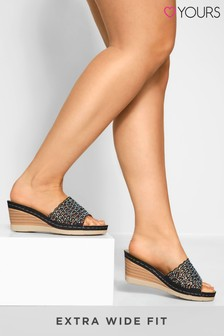 Yours Black Wide Fit Orlando Laser Cut Diamant Heeled Mules
