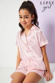 Lipsy Pink Satin Pyjama Set