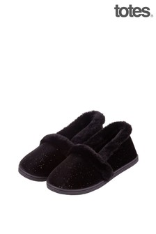 Totes Black Sparkle Velour Full Back Slipper