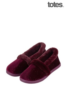 Totes Red Sparkle Velour Full Back Slipper