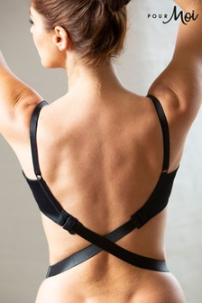 Pour Moi Black Fabric Low Back Bra Strap Extender (Pack of 1)